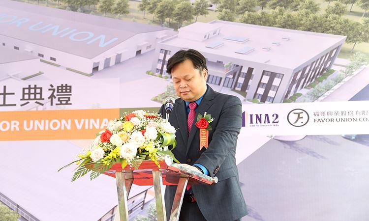 Ông Liu, Cheng - Shuo - Tổng giám đốc Favor Union Vina phát biểu tại buổi lễ